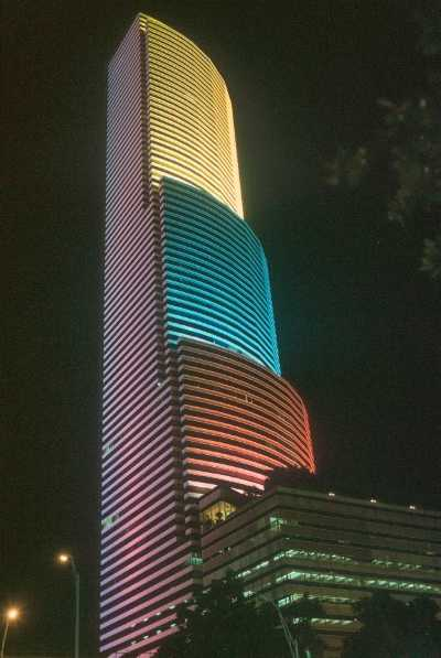 Colombian flag colors on illuminated building in Miami